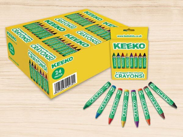 kids wrapped crayon 8 pack display