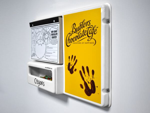Butlers Kids Small Colouring Board with bespoke branded activity sheets and crayons