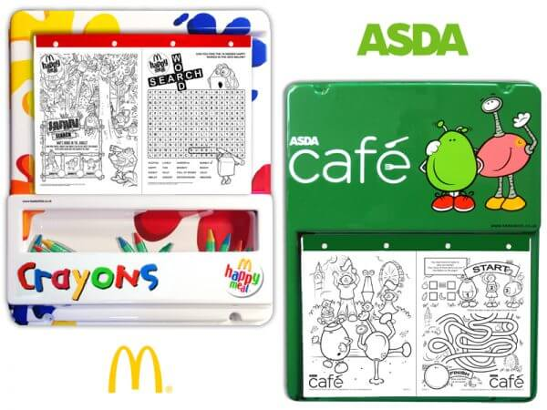 macdonalds and asda colouring boards