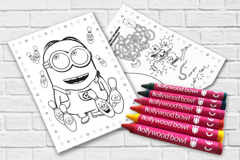 minion colouring sheet with crayons