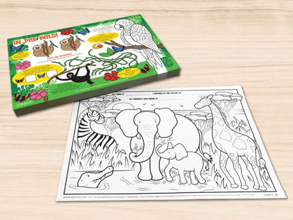 In the wild restaurant colouring pads/sheets