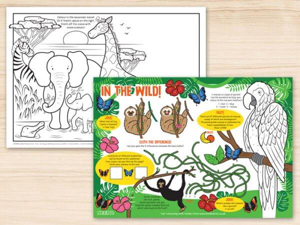 In the Wild Restaurant Activity Sheets