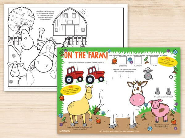 On the Farm Restaurant Activity Sheets