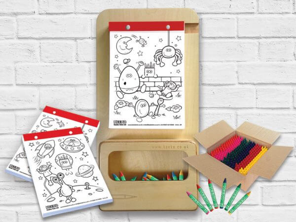 Kids Wooden Colouring Board Bundle, natural finish