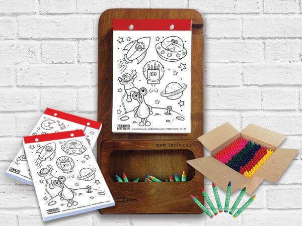 Kids Wooden Colouring Board Bundle Walnut Finish